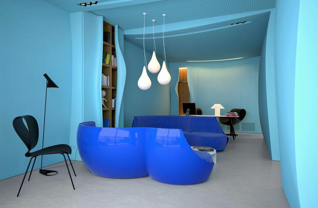 色彩的质感——乌克兰蓝色办公室