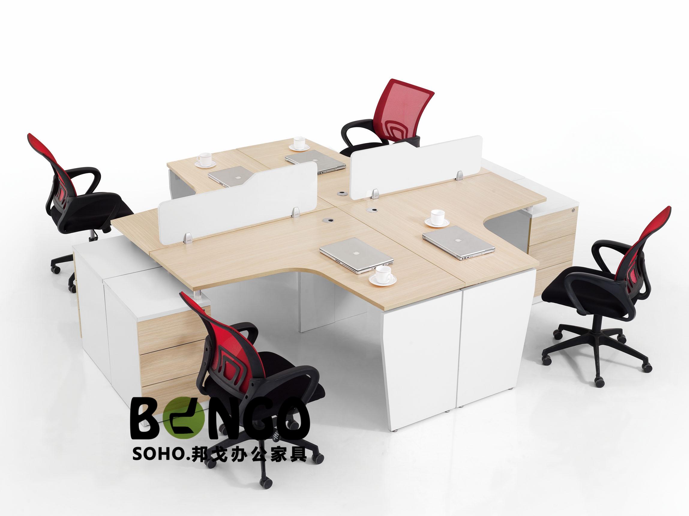 四人十字L组合 板式简约办公桌 JS-GZ1510