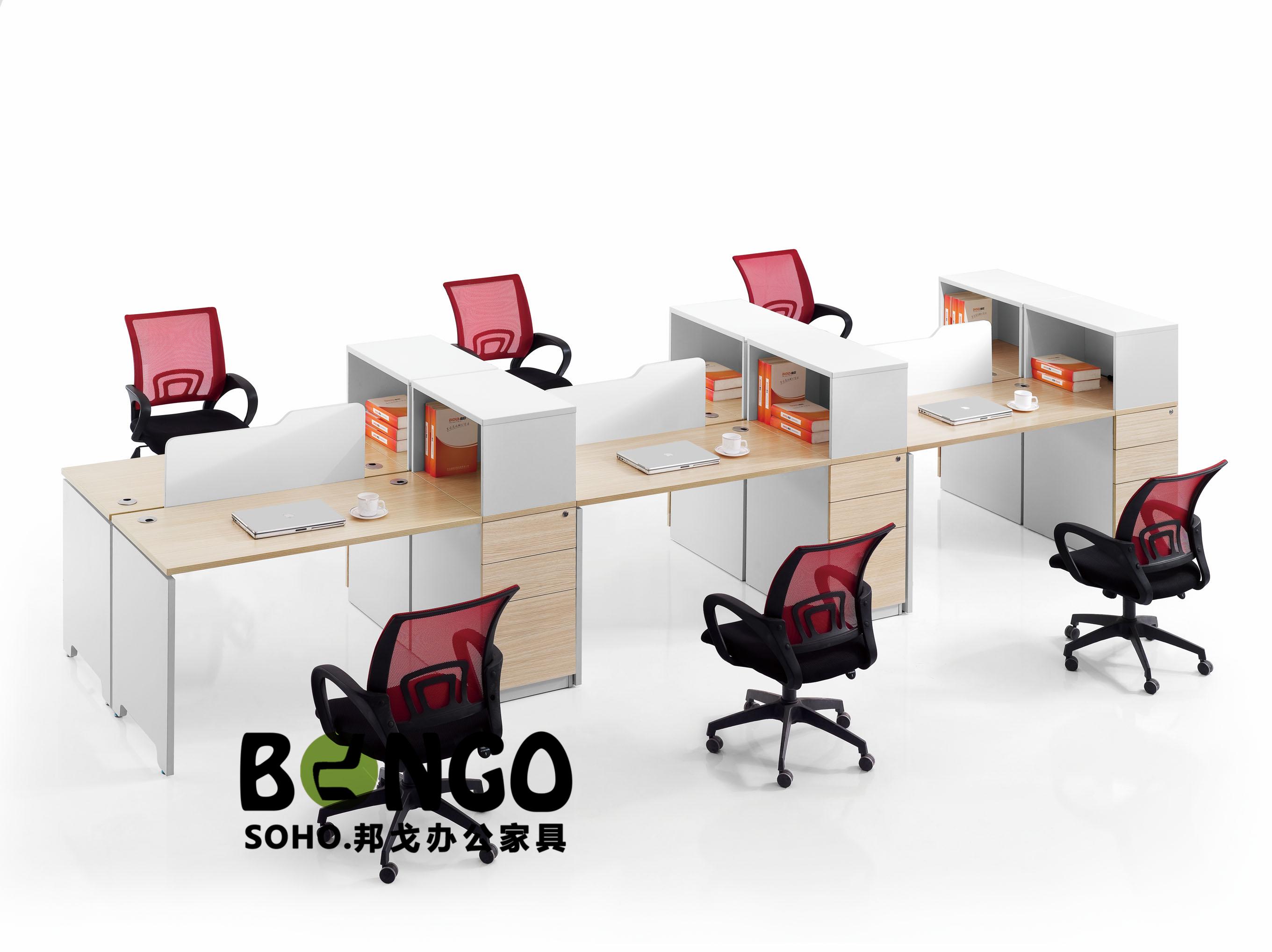 六人对坐高柜 板式简约办公桌 JS-GZ1505
