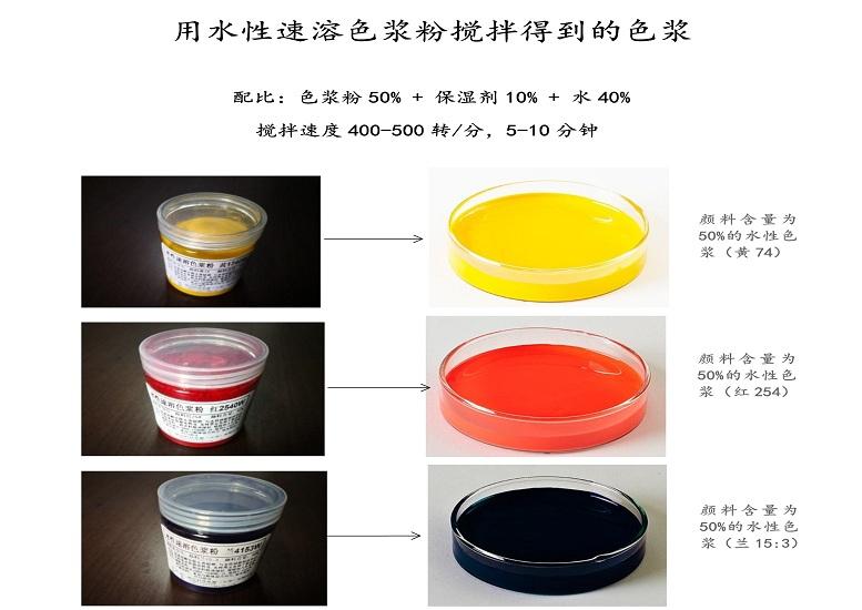 用水性速溶色浆粉搅拌制得的色浆图片