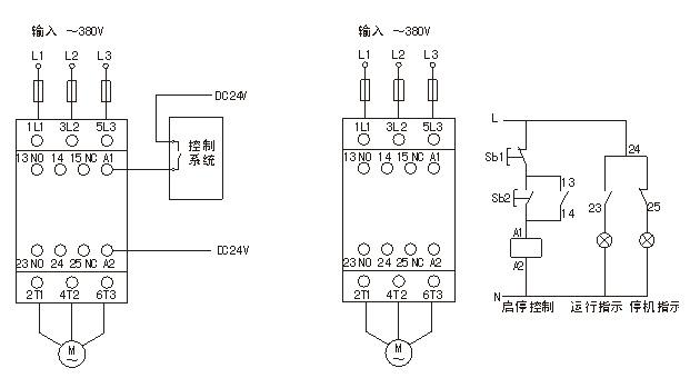接触器可与过流保护断路器或其它分体式的热继电器