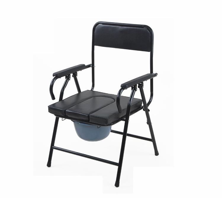 黑革面坐便椅带便桶