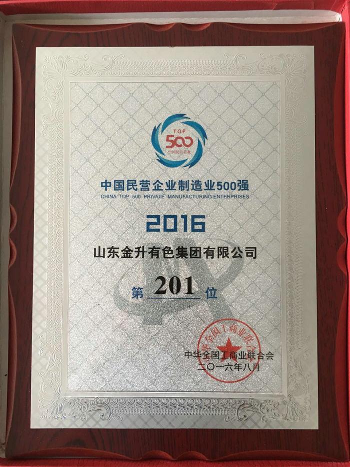 中国民营企业制造业500强2016-第201位