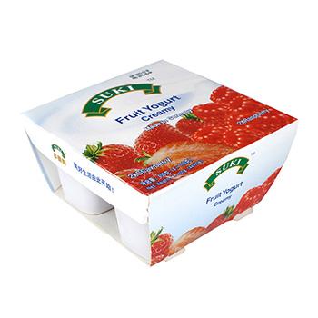 多美鲜全脂果粒酸奶-草莓果粒/覆盆子果粒 4x100g