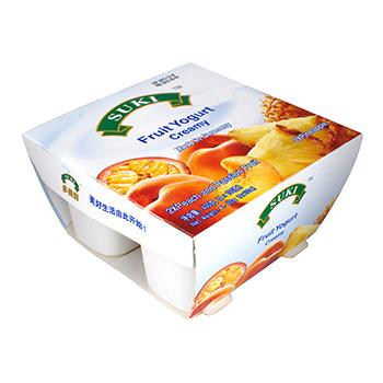 多美鲜全脂果粒酸奶-桃果粒+西番莲汁/菠萝果粒 4x100g