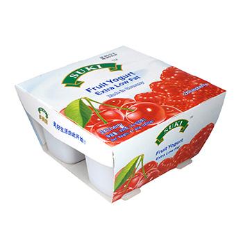 多美鲜脱脂果粒酸奶-樱桃果粒/覆盆子果粒 4x100g