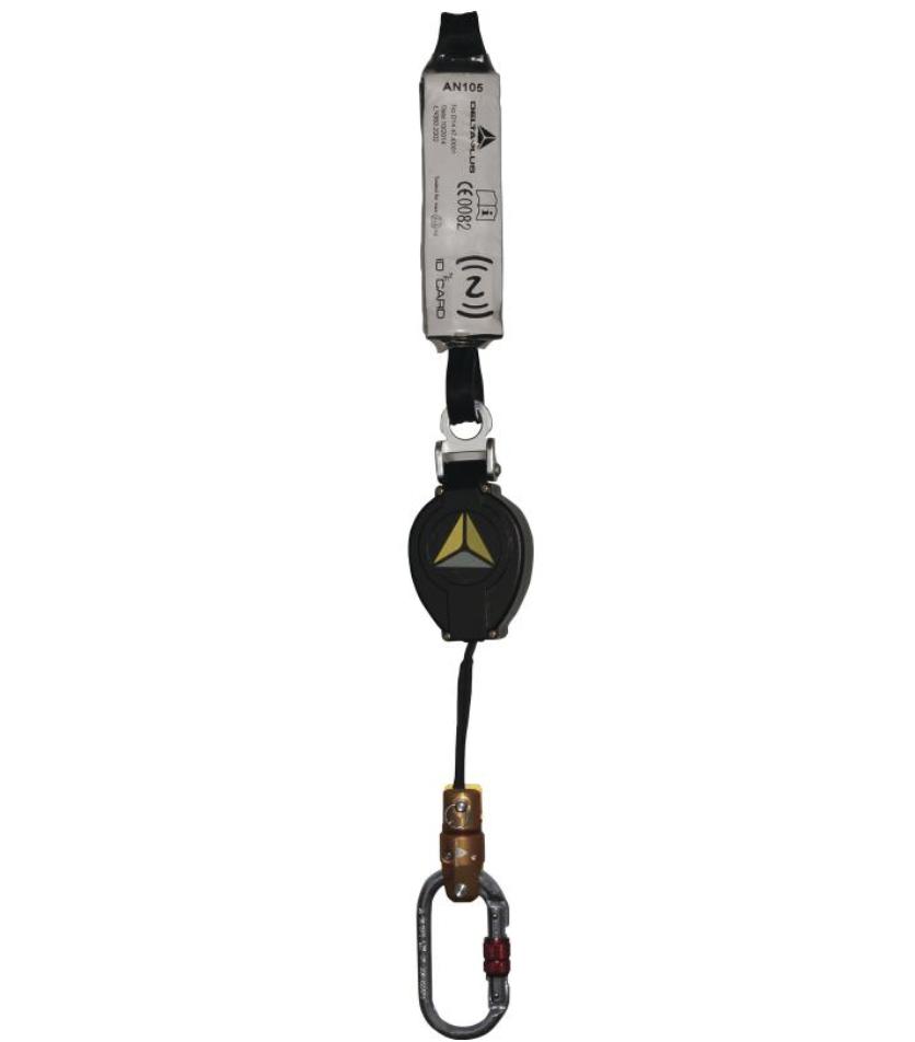 代尔塔505105 自动弹回扁绳防坠器 + 1 AM002 + 1 AC002 - 1.9 M