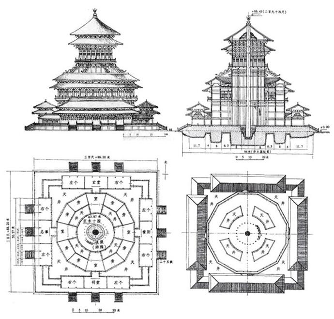 —明堂进行了研究,而且绘制了明堂的建筑设计图,制作了立体模型图片
