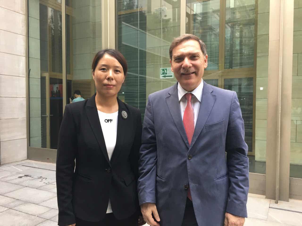 Secretary General Cui Jianghong and Greek Ambassador to China H.E. Mr. Charalambos Rocanas