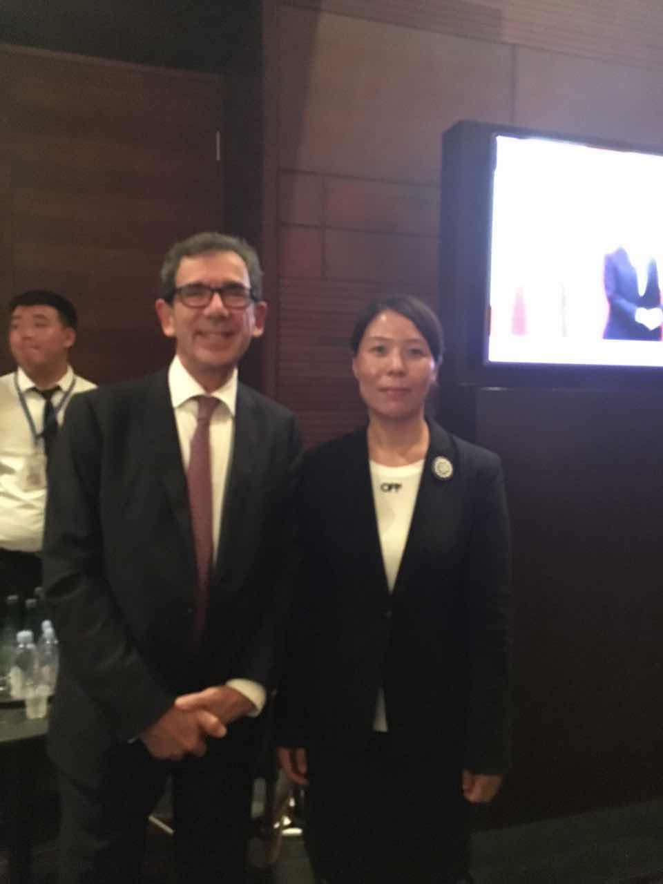 French Ambassador to China Maurice Gourdault-Montagne and Secretary General Cui Jianghong of Cultural Exchange Organization of Presenting China to the World