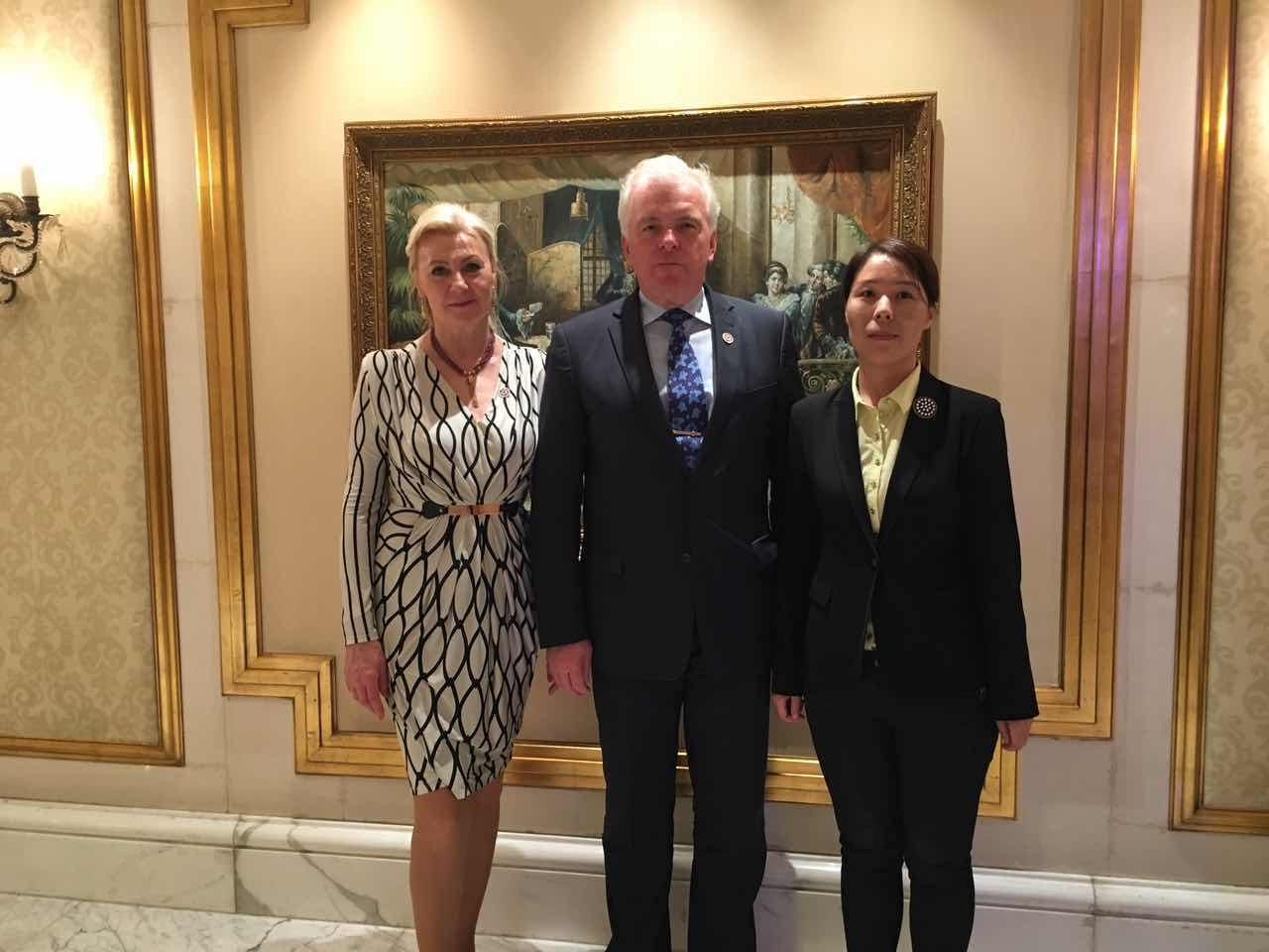 Secretary General Cui Jianghong and Slovakian Ambassador to China Buchamp Bela Dusan Bella and His Wife