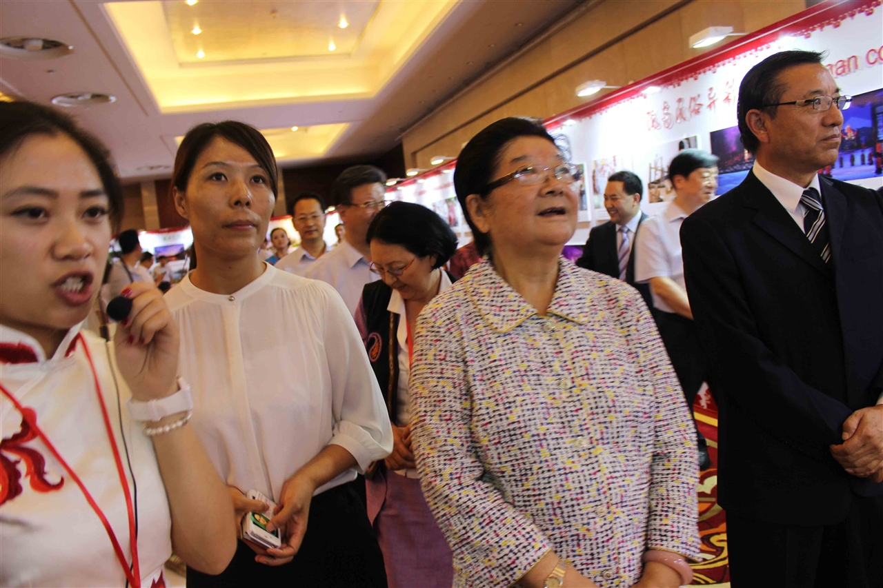顾秀莲副委员长在组委会秘书长崔江红的陪同下参观图片展