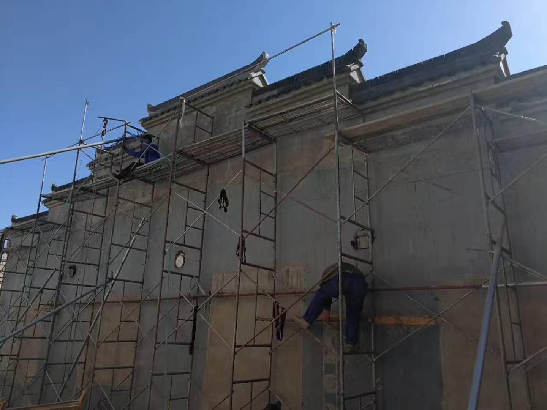 亦庄七山屏风墙影壁接近完工