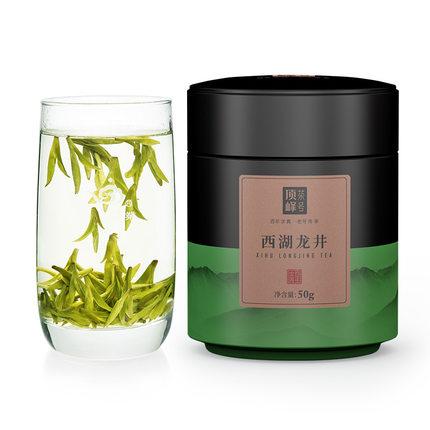 顶峰茶号绿茶西湖龙井新茶明前春茶特级罐装茶叶50克