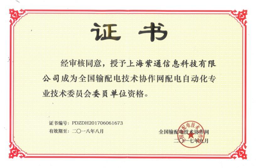 输配电网配电专委员会单位资格证书