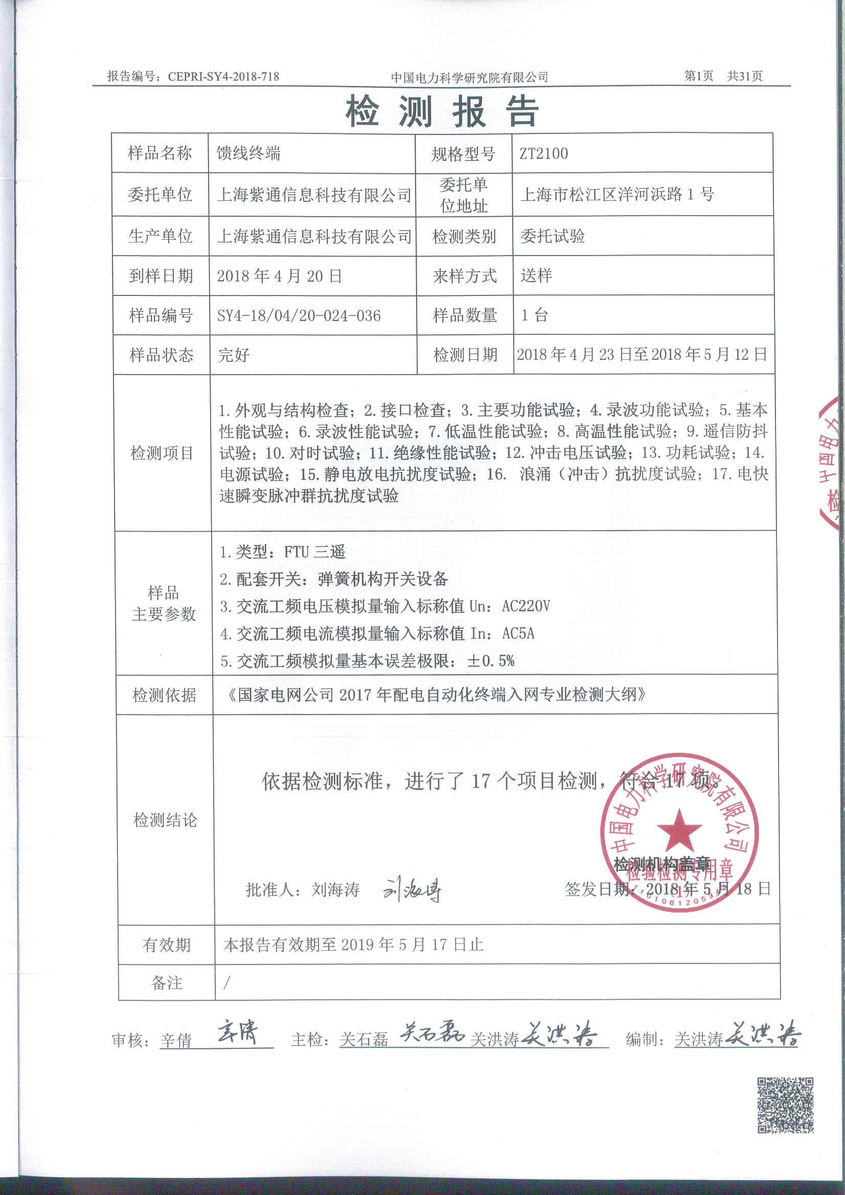 ZTU2100-FTU三遥检测报告