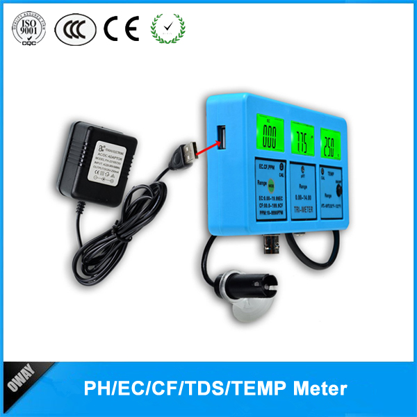 Picture of Digital multi-parameter PH/TEMP/EC/CF/TDS water quality monitor OW-117