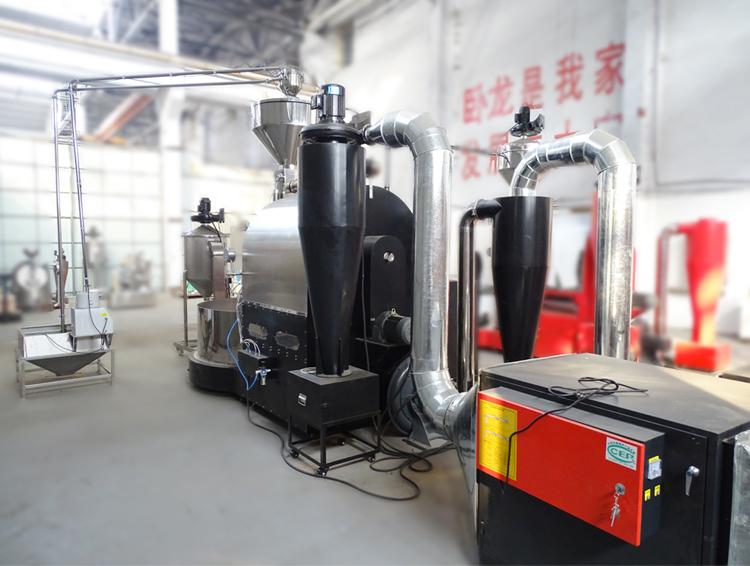 东亿DY120KG大型商用咖啡烘焙机 欧姆龙PLC自动咖啡烘焙机