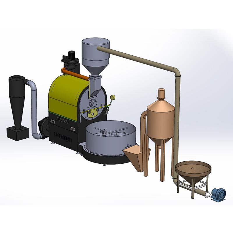 60KG全自动咖啡烘焙机大型咖啡豆工厂必备烘豆机PLC触摸屏控制