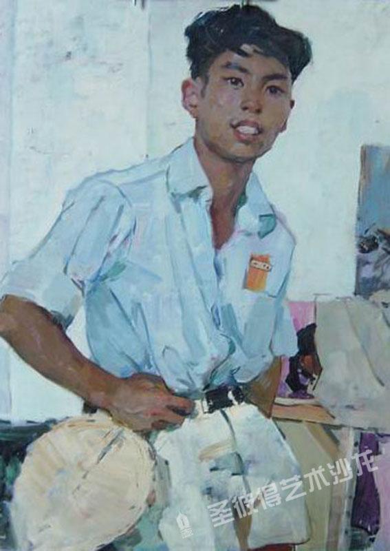 中国重庆画家肖像 油画 画布