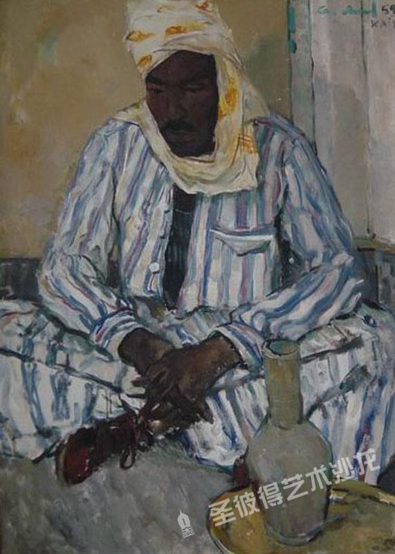 在开罗的阿拉伯人肖像 油画 画布
