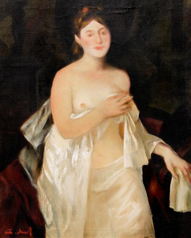有白色挂布的女裸体 布面油画