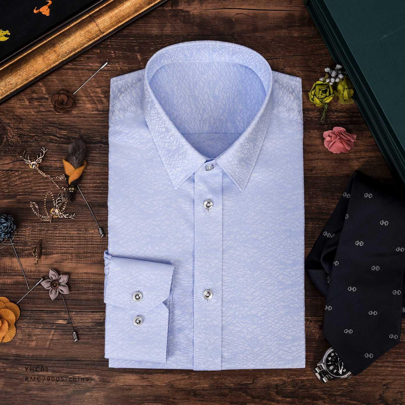网纹淡兰衬衫