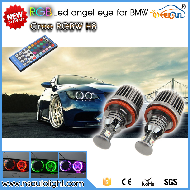 Newsun high quality 10w e90 led color changing remote h8 angel eyes lamp for BMW 3 series 07-12 E92 coupe 328i, 328xi, 335i