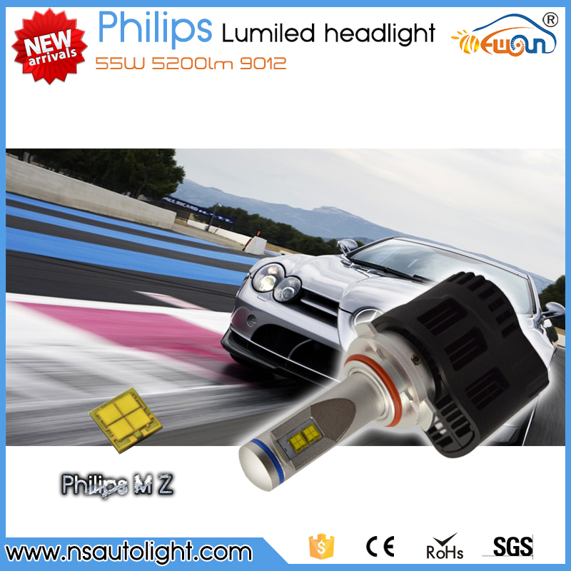 Newsun new arrival super bright H4 H7 H8 H9 H11 9005 9006 9012 H13 D1S D2S D3S xenon white 55w 5200LM Lumileds headlight