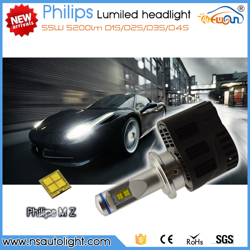 Newsun new arrival LED hid xenon white d1s d2s d3s d4s 55w 5200lm P6 led headlight kit for