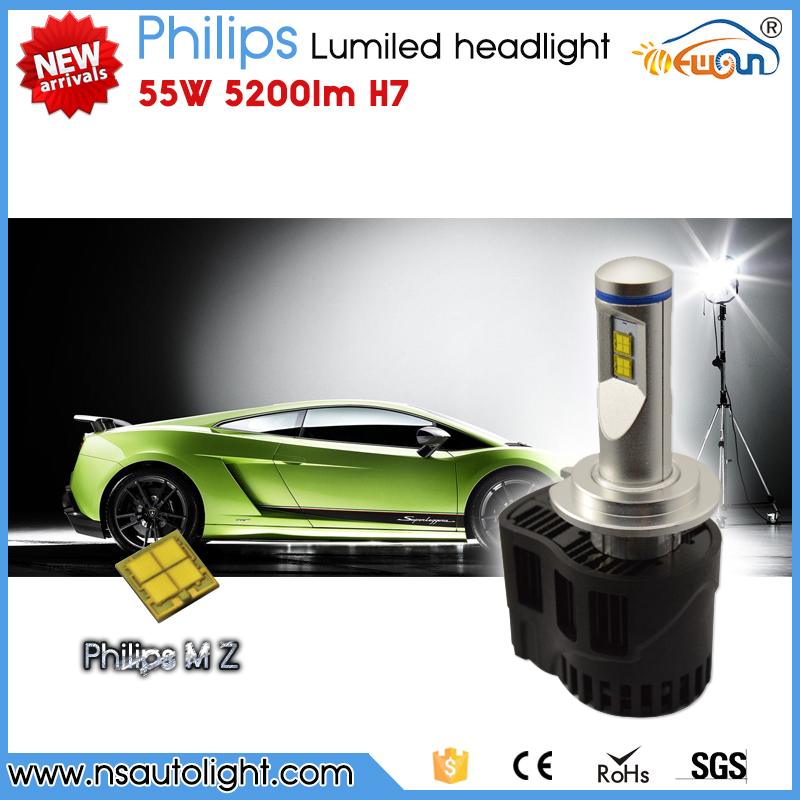 Newsun New arrival Philips MZ H7 5200lm 55W led systems led head light CE Rohs approved