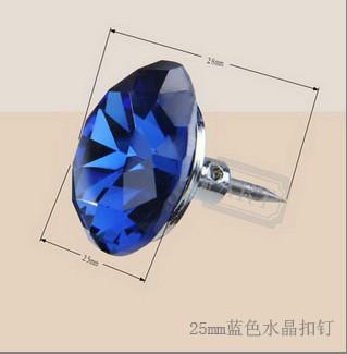 25mm蓝色水晶扣钉