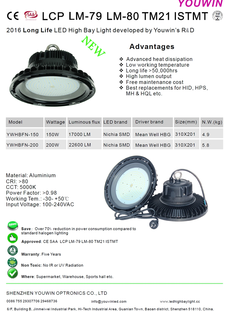 Youwin R&D New UFO LED High Bay Light 150W & 200W in August 2016-LED