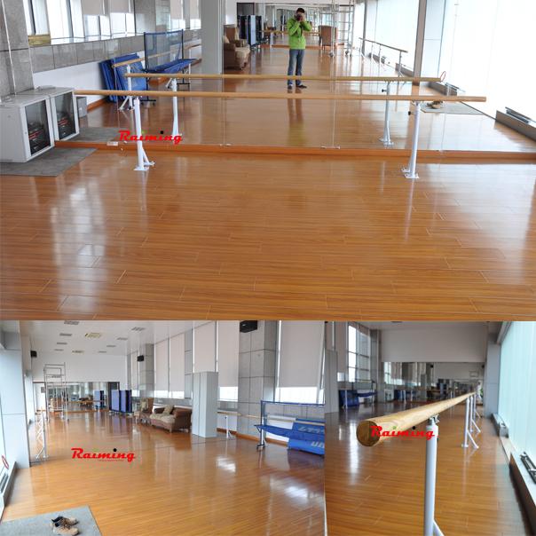 祝贺南京民生银行VIP客户俱乐部舞蹈房把杆施工安装完毕。