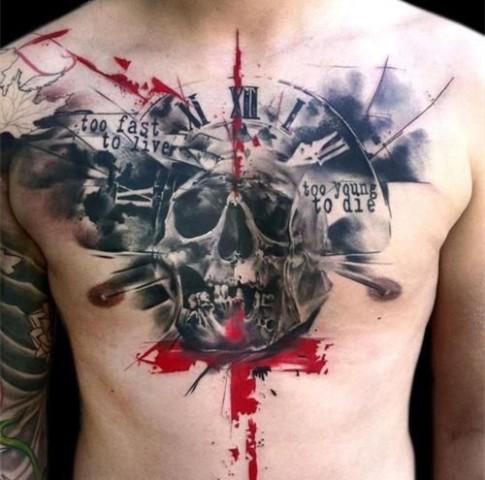 胸口骷髅纹身,纹身的寓意与讲究,武汉龙族纹身