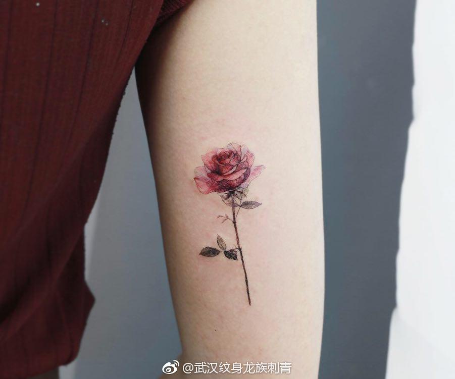 大臂红玫瑰写实纹身寓意 武汉龙族纹身