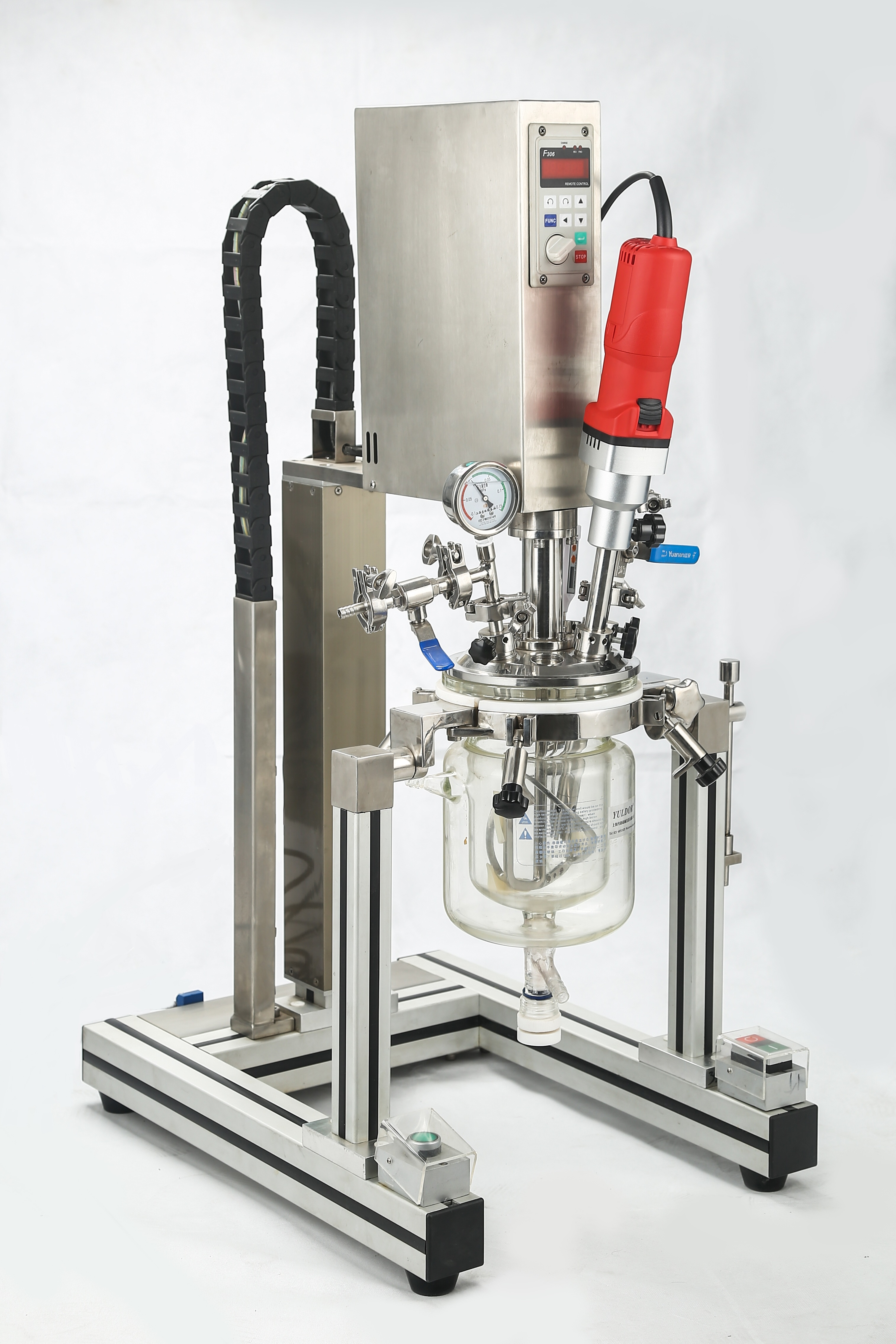 2L实验室真空分散机,玻璃真空分散乳化机