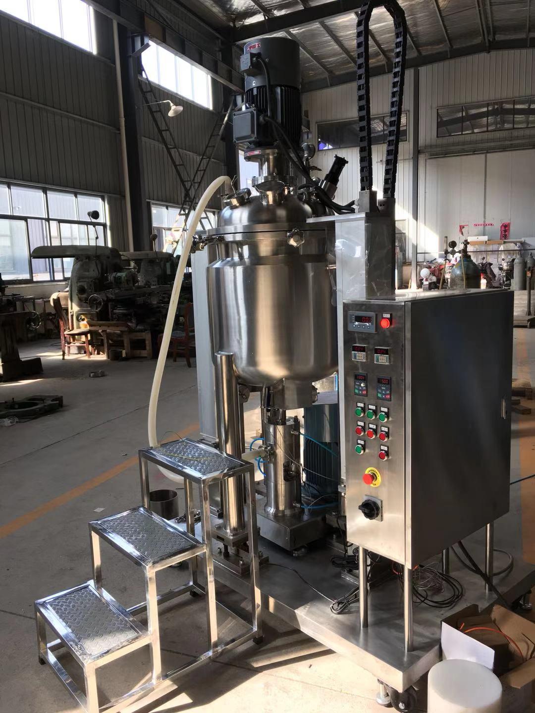 双立杆电动升降真空均质乳化釜,挂壁搅拌真空反应釜,悬浮剂成套真空乳化锅